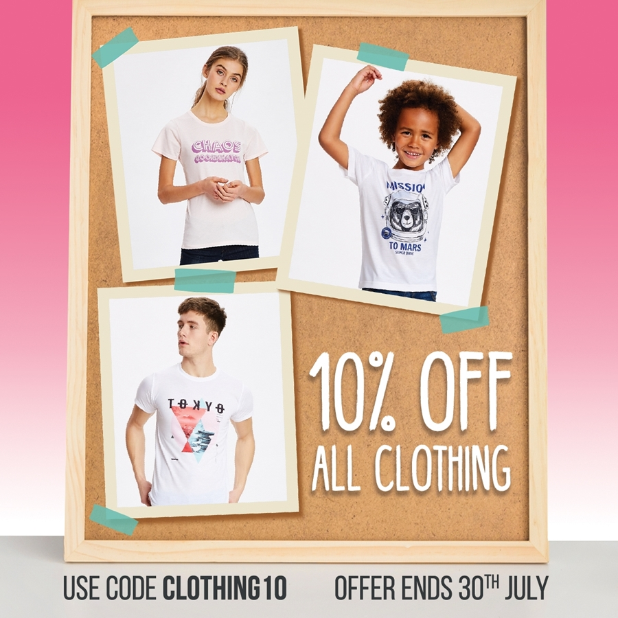 10% off all Clothing! 🤑
